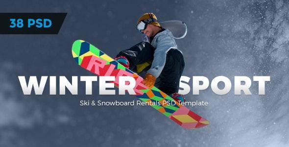 Winter Sport - Ski & Snowboard Rental PSD Template - Retail Photoshop