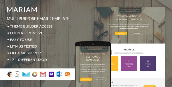 Mariam – Responsive HTML Email + StampReady, MailChimp & CampaignMonitor compatible files