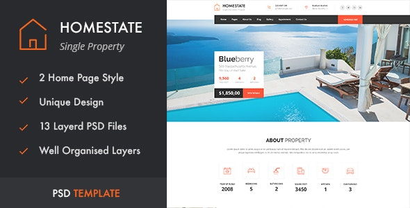 HOMESTATE - Single Property Real Estate PSD Template - Business Corporate