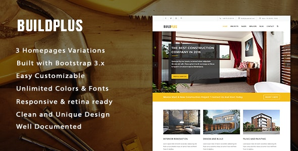 BuildPlus Responsive Construction and Renovation Template - Business Corporate