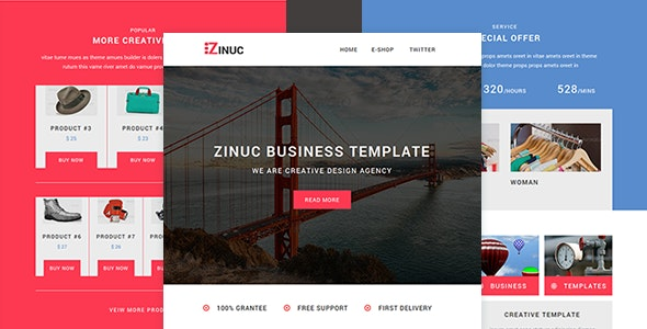 Zinuc - E-Commerce  Responsive Email with Stampready builder - Catalogs Email Templates