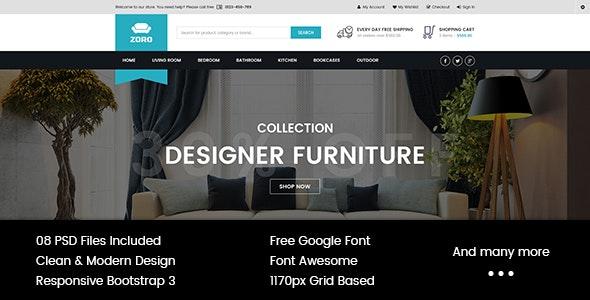 Zoro - Multi-Purpose eCommerce PSD Template - Retail Photoshop