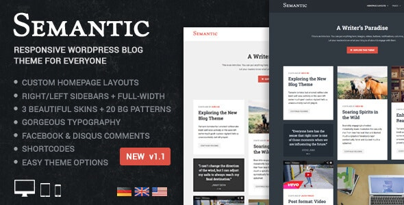 Semantic - Responsive & Clean WordPress Blog Theme - Blog / Magazine WordPress