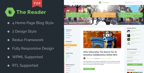 The Reader WordPress Minimal Blog Theme - News / Editorial Blog / Magazine