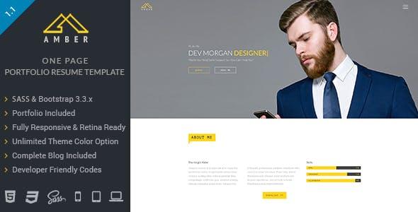 Amber -  One Page Portfolio Resume Template