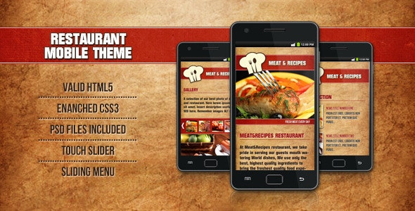 Restaurant Mobile Template Meat & Recipes - Mobile Site Templates