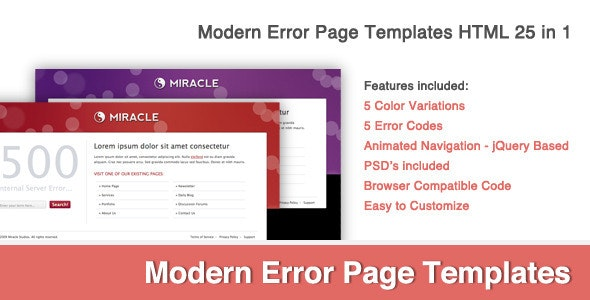 Modern Error Page Template 25 in 1 by BrentChesny | ThemeForest