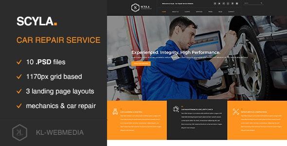 Scyla - Car Repair Service PSD template - Miscellaneous PSD Templates