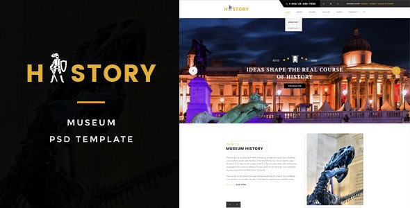 History : Museum PSD Template - Miscellaneous PSD Templates