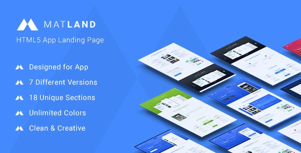 MatLand -  HTML5 App Landing Page - Landing Pages Marketing