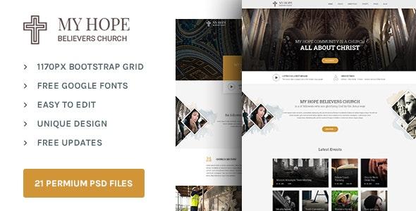 MY HOPE : Church PSD template - Nonprofit Photoshop