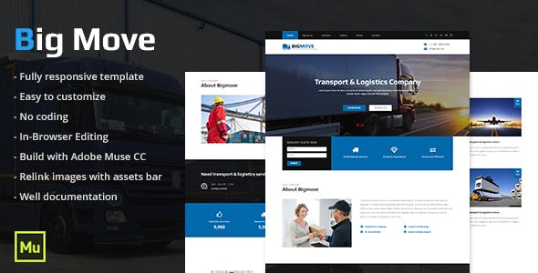 Courier Company Adobe Muse Themes & Muse Template