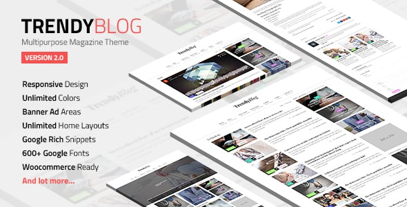 TrendyBlog - Multipurpose Magazine Theme - News / Editorial Blog / Magazine