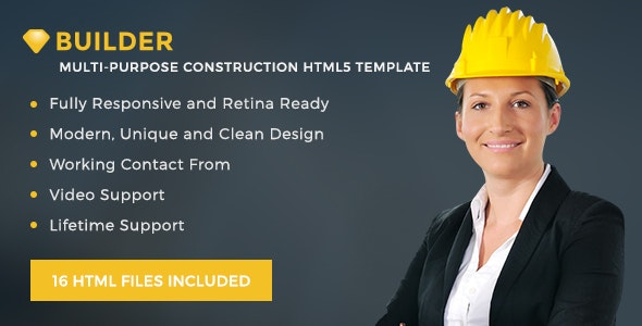 Builder - Construction responsive HTML5 Template - Corporate Site Templates