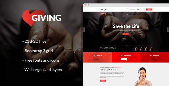 Giving - NGO and Charity PSD Template - Charity Nonprofit