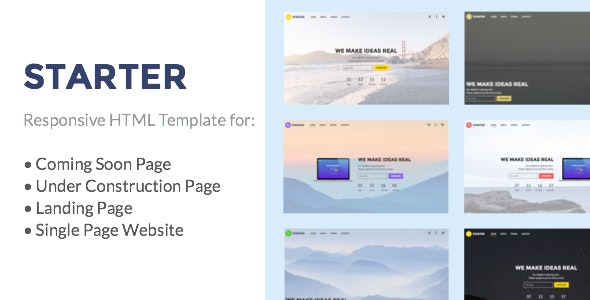 Starter - Under Construction, Coming Soon, Landing Page, Single Page Website HTML Template - Under Construction Specialty Pages