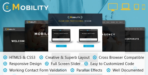 Mobility One Page HTML Template - Corporate Site Templates