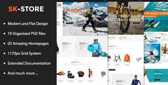 SK Store - Unique Shop PSD Template for Sport and Athletes - Retail Photoshop