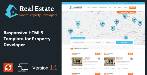 Real Estate - Responsive HTML5 Template for Property Developers - Business Corporate