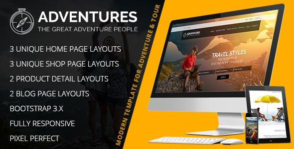 Adventures – Booking And Tourism HTML & Wordpress Theme