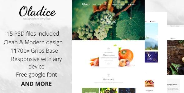 Oladice - Organic Farm PSD Template - Creative PSD Templates