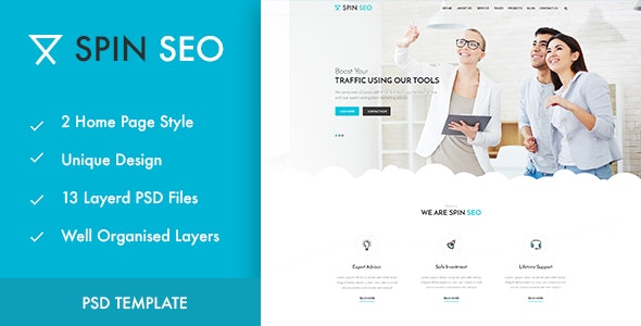 SPIN SEO - SEO & Business PSD Template - Marketing Corporate