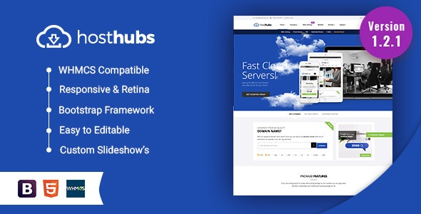 HostHubs | Responsive WHMCS Web Hosting, Domain, Technology Site Template - Hosting Technology