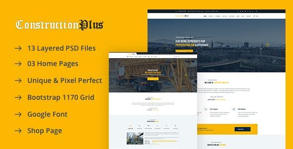 Construction Plus PSD Template - Corporate PSD Templates