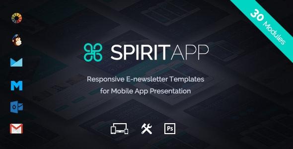 SpiritApp - Multipurpose Mobile App E-Newsletter + Builder Access - Email Templates Marketing