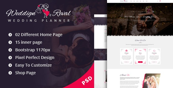 Wedding Reval - Planner & Agency PSD Template - Entertainment Photoshop