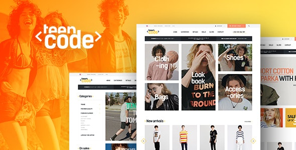 Teen Code - Ecommerce PSD Template - Retail Photoshop