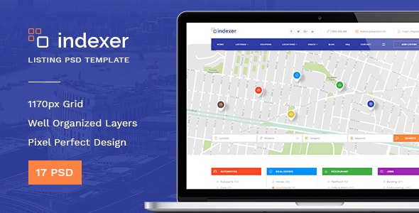 Indexer — Universal Directory Listing PSD Template - Corporate Photoshop