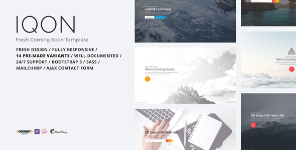 IQON - Fresh Coming Soon Template - Under Construction Specialty Pages