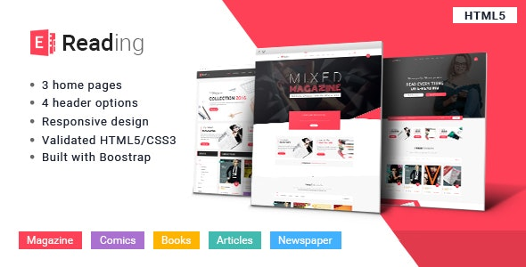 E-Reading Book Store HTML5 Theme  - Retail Site Templates