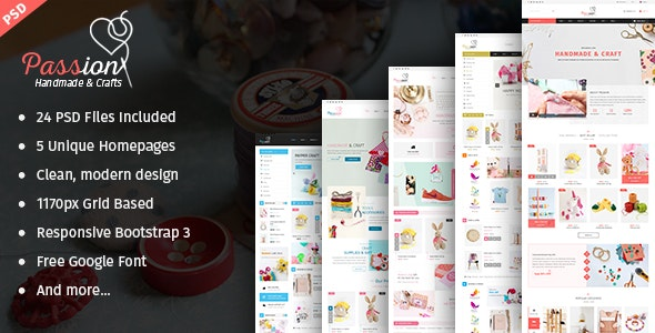 Passion - Handmade & Craft eCommerce PSD Template - Retail Photoshop