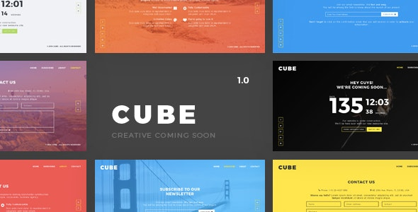 Cube - Creative Coming Soon Template - Under Construction Specialty Pages