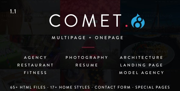 Comet - Creative Multi-Purpose Drupal 7 and 8 7 Theme by drupalet