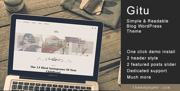 Gitu - Simple & Readable Blog WordPress Theme - Personal Blog / Magazine