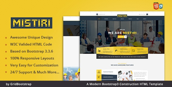Mistiri | Bootstrap3 Construction HTML Template - Business Corporate