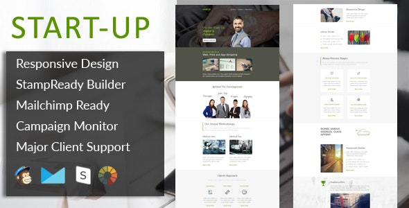 StartUp - Multipurpose Responsive Email Template + Stampready Builder - Email Templates Marketing