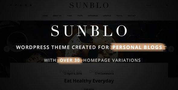 Sunblo - Responsive WordPress Blog Theme - Personal Blog / Magazine