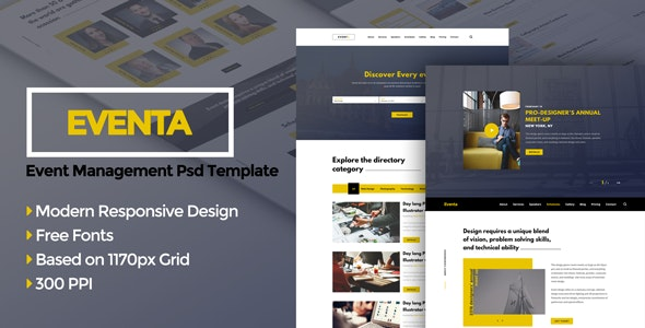 Eventa - Event Management PSD Template - Creative PSD Templates