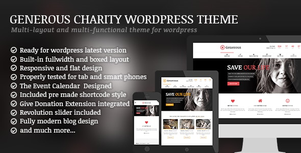 Generous - Charity / Non-Profit / Orphan / Fund-raising / Crowd-funding WordPress Theme - Charity Nonprofit