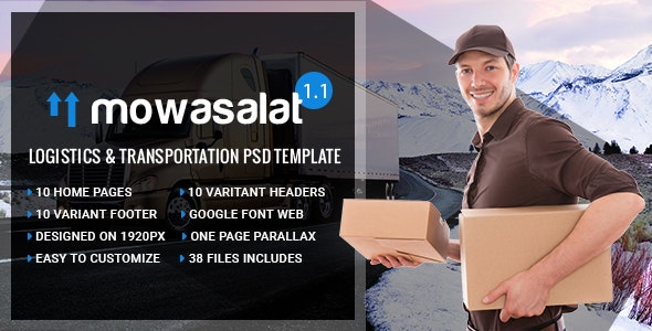 Mowasalat - Logistics and Transports PSD Template - Business Corporate