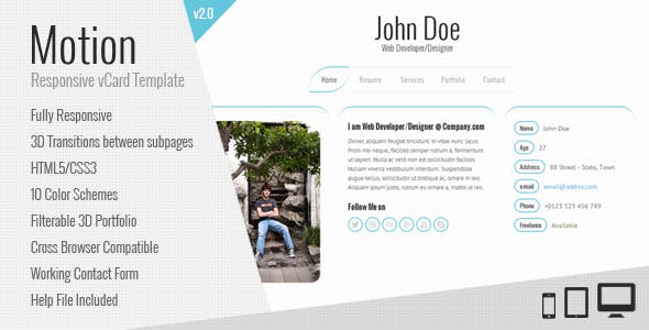 Motion | vCard Template