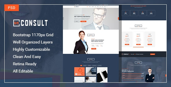 Consult-One Page PSD Template specially for consultancy, agency with multipurpose concept - Corporate Photoshop