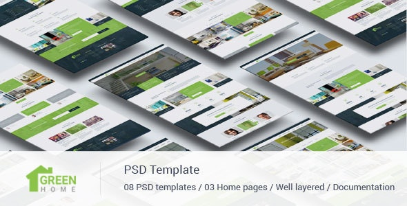 Green Home - Single Property Real Estate PSD Template - Business Corporate