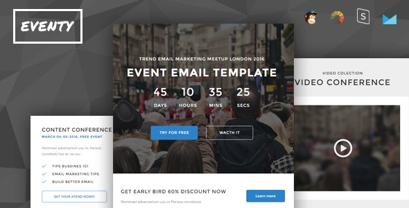 Eventy - Event Conference Responsive Email + StampReady Builder - Newsletters Email Templates