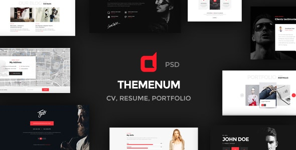 Themenum - Personal Vcard Resume & Cv PSD Template - Personal Photoshop