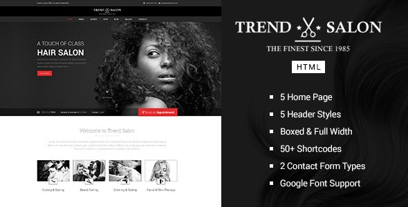 Trend Salon - Barbershop HTML Template - Health & Beauty Retail